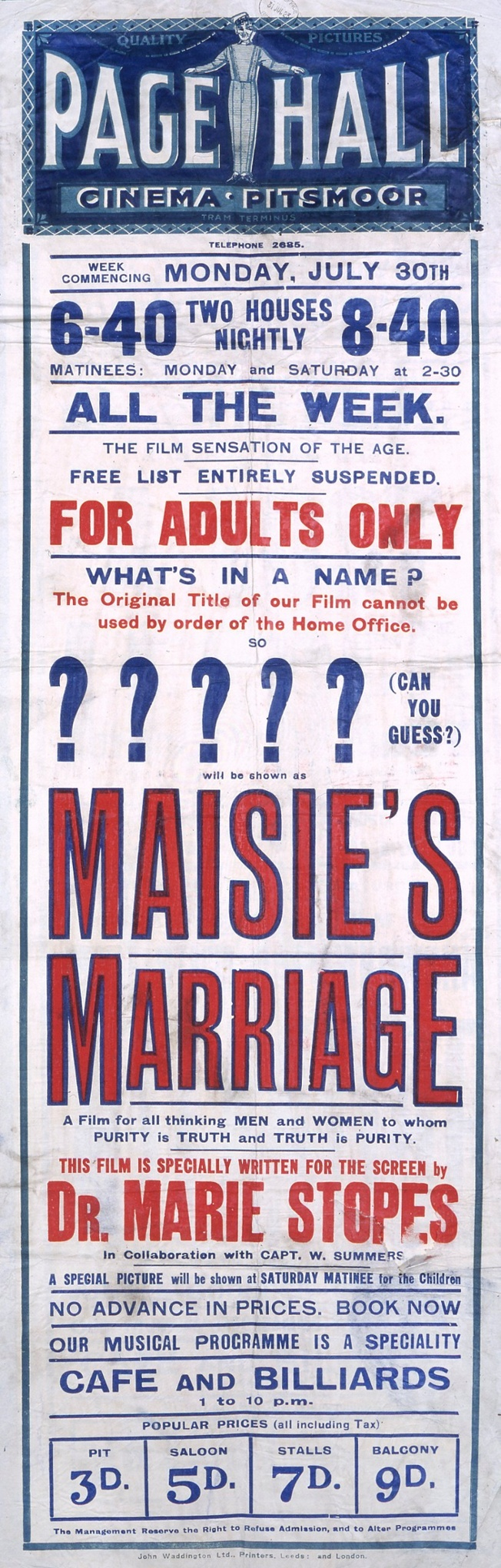 """L0076214 Film poster for """"Maisie's Marriage"""""""