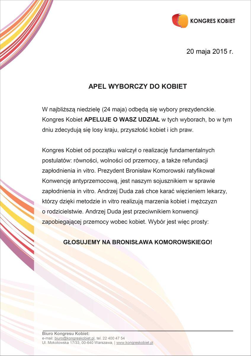 Apel KK o udział w wyborach